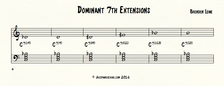 Jazz piano school dominant 7th chord extensions