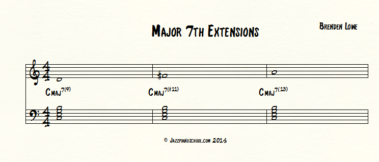 Jazz Piano school major7th chord extensions
