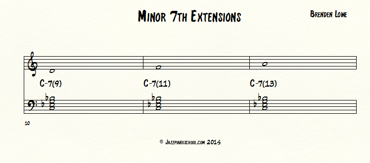 Jazz Piano School Minor 7th Chord Extensions