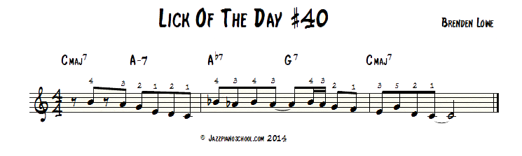 Jazz Piano Lick Of The Day #40 - Imaj7 to IV-7 turnaround